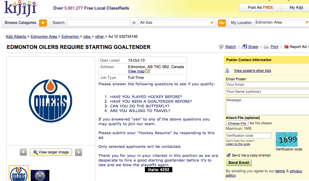 edit my kijiji ad classified ad is trying to find a goalie for the edmonton 10840