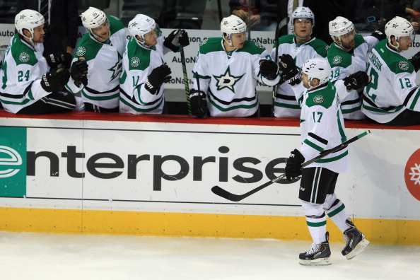 DENVER, CO - OCTOBER 15:  Rich Peverley #17 of the Dallas Stars celebrates his first period goal with his teammates against the Colorado Avalanche at Pepsi Center on October 15, 2013 in Denver, Colorado.  (Photo by Doug Pensinger/Getty Images)