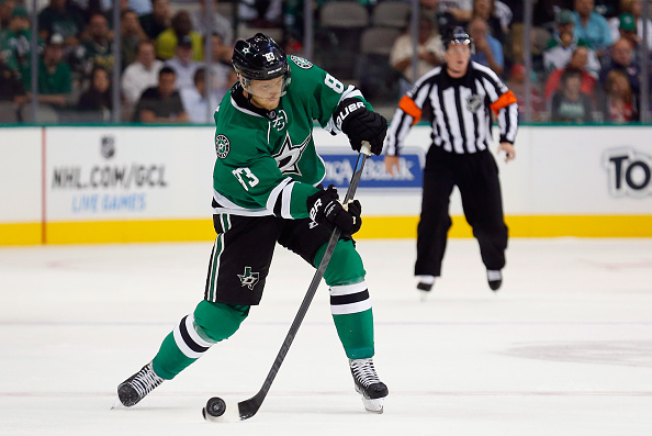 DALLAS, TX - SEPTEMBER 30:  Ales Hemsky #83 of the Dallas Stars shoots the puck against the Tampa Bay Lightning in the first period at American Airlines Center on September 30, 2014 in Dallas, Texas.  (Photo by Tom Pennington/Getty Images)