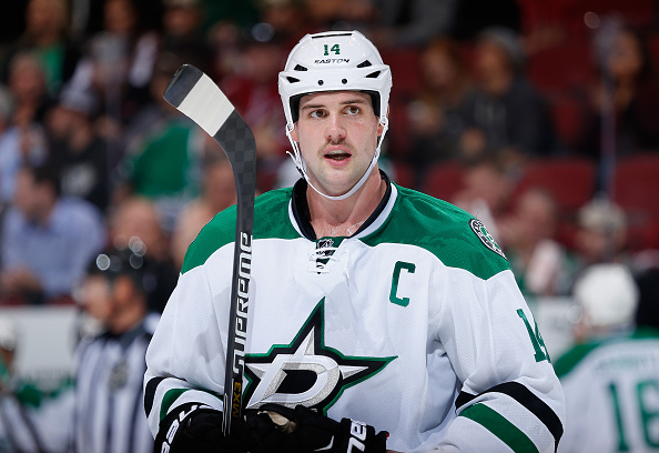 GLENDALE, AZ - NOVEMBER 11:  Jamie Benn #14 of the Dallas Stars during the NHL game against the Arizona Coyotes at Gila River Arena on November 11, 2014 in Glendale, Arizona. The Stars defeated the Coyotes 4-3.  (Photo by Christian Petersen/Getty Images)