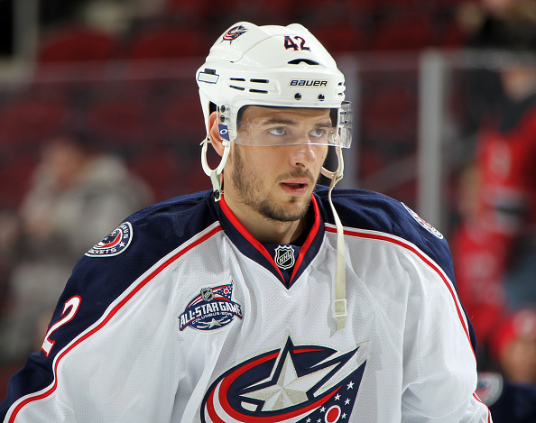 NEWARK, NJ - MARCH 06:  Artem Anisimov #42 of the Columbus Blue Jackets looks on prior to the game against the New Jersey Devils at the Prudential Center on March 6, 2015 in Newark, New Jersey. (Photo by Christopher Pasatieri/Getty Images)