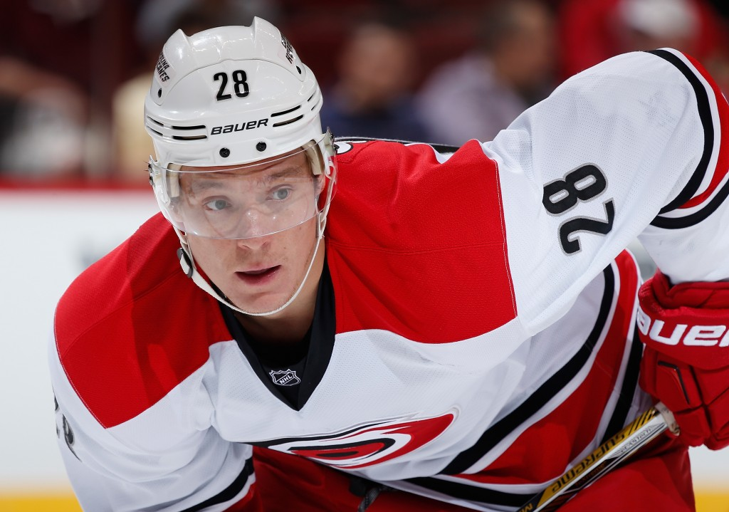 GLENDALE, AZ - FEBRUARY 05:  Alexander Semin #28 of the Carolina Hurricanes during the NHL game against the Arizona Coyotes at Gila River Arena on February 5, 2015 in Glendale, Arizona. The Hurricanes defeated the Coyotes 2-1 in overtime shootout.  (Photo by Christian Petersen/Getty Images)