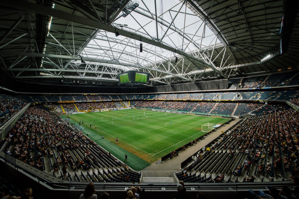 SOLNA, SWEDEN - AUGUST 10: A general view of the inside of the Friends Arena before the Swedish Allsvenskan League match between AIK and Gefle IF at the Friends Arena on August 10,2014 in Solna,Sweden.  (Photo by Jonathan Nackstrand/EuroFootball/Getty Images)