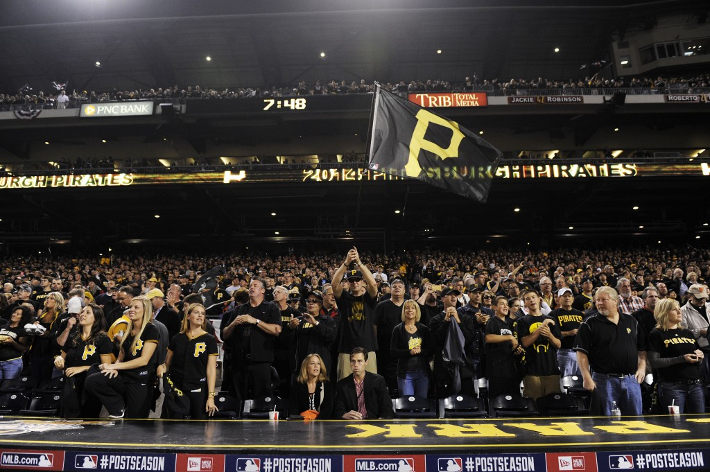 PITTSBURGH, PA - OCTOBER 01:  Pittsburgh Pirates fans prepare for their National League Wild Card game against the San Francisco Giants at PNC Park on October 1, 2014 in Pittsburgh, Pennsylvania.  (Photo by Jason Miller/Getty Images)