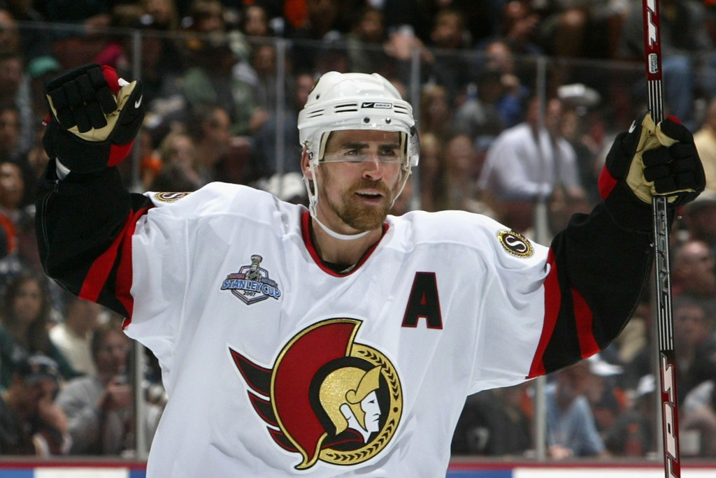 ANAHEIM, CA - MAY 28:  Wade Redden #6 of the Ottawa Senators celebrates after scoring a second period power play goal against the Anaheim Ducks during Game One of the 2007 Stanley Cup finals on May 28, 2007 at Honda Center in Anaheim, California.   (Photo by Dave Sandford/Getty Images)