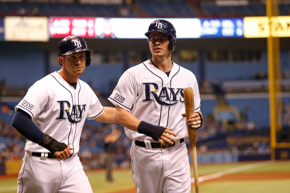 ST. PETERSBURG, FL - SEPTEMBER 19:  Evan Longoria #3 of the Tampa Bay Rays (L) and Wil Myers #9 celebrate after both scored off a two-run double by Logan Forsythe during the first inning of a game against the Chicago White Sox on September 19, 2014 at Tropicana Field in St. Petersburg, Florida.  (Photo by Brian Blanco/Getty Images)