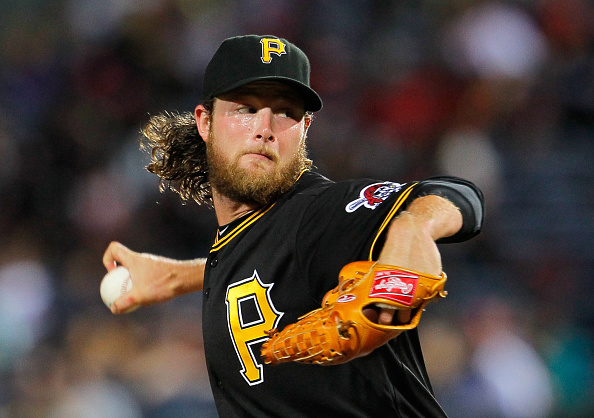 ATLANTA, GA - SEPTEMBER 23:  Gerrit Cole #45 of the Pittsburgh Pirates pitches in the third inning against the Atlanta Braves at Turner Field on September 23, 2014 in Atlanta, Georgia.  (Photo by Kevin C. Cox/Getty Images)