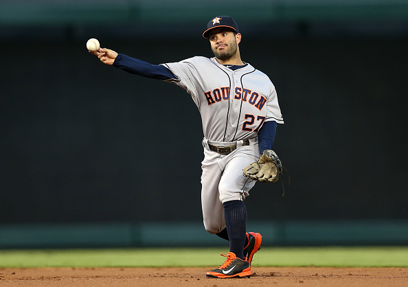 ARLINGTON, TX - SEPTEMBER 23: Jose Altuve #27 of the Houston Astros throws for an out at first during the first inning during a game against the Texas Rangers at Globe Life Park in Arlington on September 23, 2014 in Arlington, Texas.  (Photo by Sarah Glenn/Getty Images)