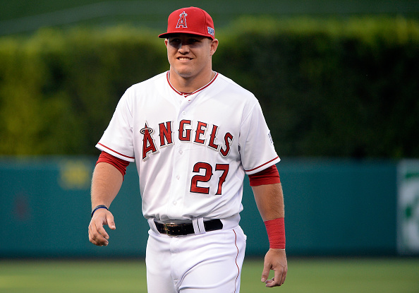 ANAHEIM, CA - OCTOBER 02:  Mike Trout #27 of the Los Angeles Angels looks on prior to Game One of the American League Division Series against the Kansas City Royals at Angel Stadium of Anaheim on October 2, 2014 in Anaheim, California.  (Photo by Harry How/Getty Images)
