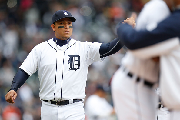 DETROIT, MI - OCTOBER 05:  Miguel Cabrera #24 of the Detroit Tigers is introduced prior to Game Three of the American League Division Series against the Baltimore Orioles at Comerica Park on October 5, 2014 in Detroit, Michigan.  (Photo by Gregory Shamus/Getty Images)