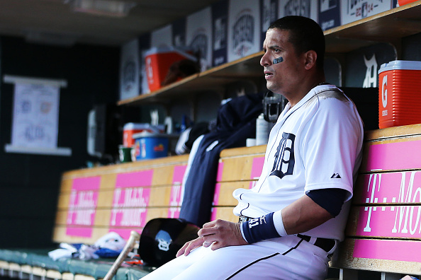 DETROIT, MI - OCTOBER 05:  Victor Martinez #41 of the Detroit Tigers looks on from the dugout in the sixth inning against the Baltimore Orioles during Game Three of the American League Division Series at Comerica Park on October 5, 2014 in Detroit, Michigan.  (Photo by Leon Halip/Getty Images)