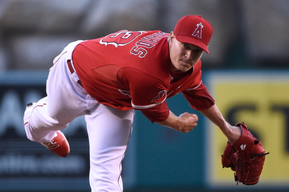 ANAHEIM, CA - JULY 24: Garrett Richards #43 of the Los Angeles Angels of Anaheim pitches in the first inning against the Detroit Tigers at Angel Stadium of Anaheim on July 24, 2014 in Anaheim, California. (Photo by Lisa Blumenfeld/Getty Images)