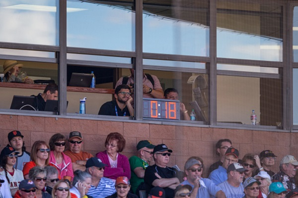 SCOTTSDALE, AZ - MARCH 4: The new baseball clock shown counting down between innings during a spring training game between the San Francisco Giants and the Oakland Athletics at Scottsdale Stadium on March 4, 2015 in Scottsdale, Arizona. (Photo by Rob Tringali/Getty Images)