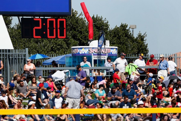 PEORIA, AZ - MARCH 08: A clock counts down time between innings during the spring training game between the Colorado Rockies and the San Diego Padres at Peoria Stadium on March 8, 2015 in Peoria, Arizona. (Photo by Christian Petersen/Getty Images)