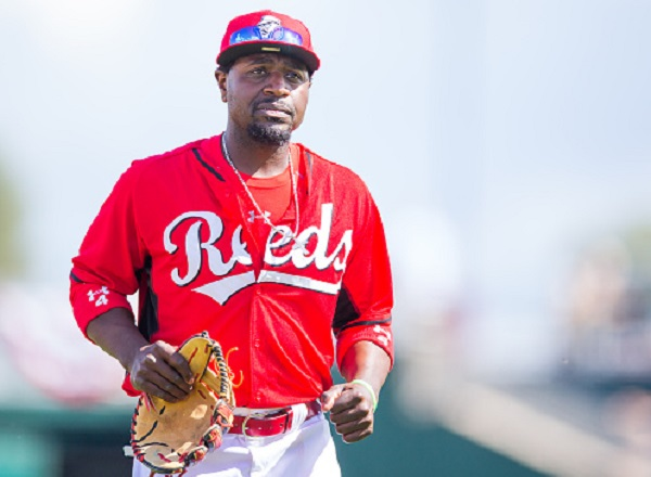 GOODYEAR, AZ - MARCH 3: Brandon Phillips #4 of the Cincinnati Reds looks on during a spring training game against the Cleveland Indians at Goodyear Ballpark on March 3, 2015 in Goodyear, Arizona. (Photo by Rob Tringali/Getty Images)