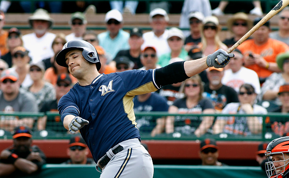 SCOTTSDALE, AZ - MARCH 11:  Ryan Braun #8 of the Milwaukee Brewers reacts as he swings at a pitch against the San Francisco Giants during the first inning of a Cactus League game at Scottsdale Stadium on March 11, 2015 in Scottsdale, Arizona.  (Photo by Ralph Freso/Getty Images)