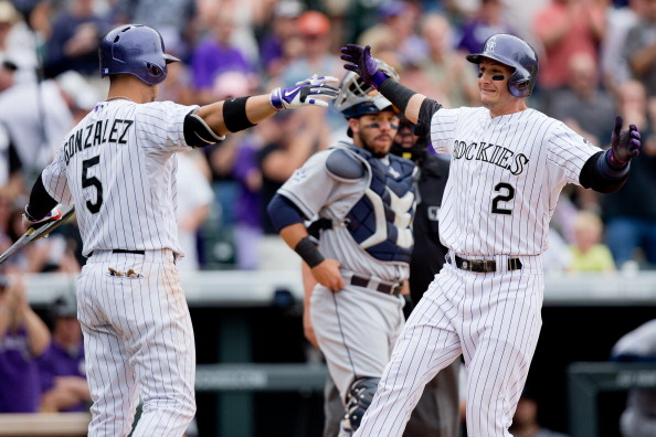 DENVER, CO - MAY 18:  Troy Tulowitzki #2 of the Colorado Rockies celebrates his solo home run with Carlos Gonzalez #5 as Rene Rivera #44 of the San Diego Padres looks on during the fifth inning at Coors Field on May 18, 2014 in Denver, Colorado. The Rockies defeated the Padres 8-6 in 10 innings. (Photo by Justin Edmonds/Getty Images)
