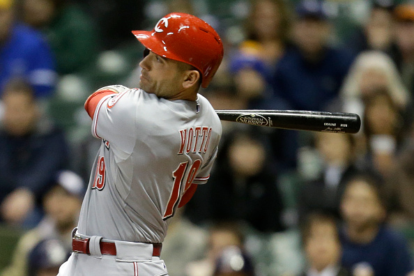 MILWAUKEE, WI - APRIL 21: Joey Votto #19 of the Cincinnati Reds hits a single in the third inning against the Milwaukee Brewers at Miller Park on April 21, 2015 in Milwaukee, Wisconsin. (Photo by Mike McGinnis/Getty Images)  *** Local Caption *** Joey Votto