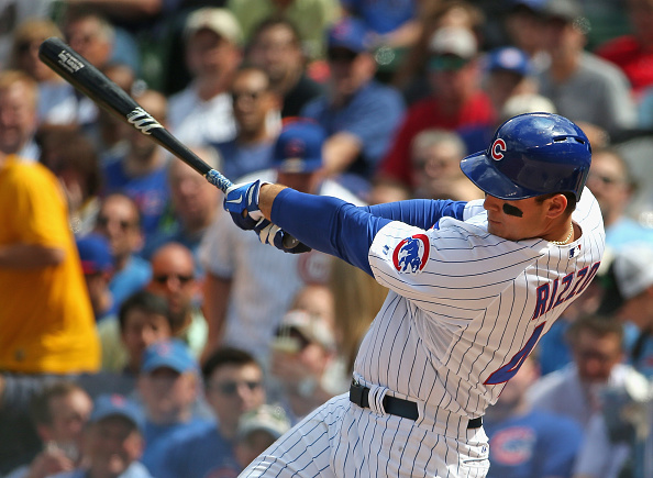 CHICAGO, IL - MAY 15: Anthony Rizzo #44 of the Chicago Cubs hits a solo home run in the 4th inning against the Pittsburgh Pirates at Wrigley Field on May 15, 2015 in Chicago, Illinois. (Photo by Jonathan Daniel/Getty Images)