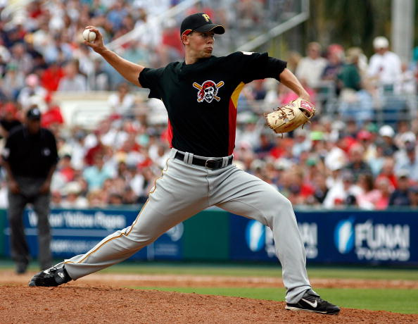 FORT MYERS, FL - MARCH 04:  Pitcher Bryan Bullington #49 of the Pittsburgh Pirates pitches against the Boston Red Sox on March 4, 2008 at City of Palms Park in Ft. Myers, Florida.  (Photo by J. Meric/Getty Images)
