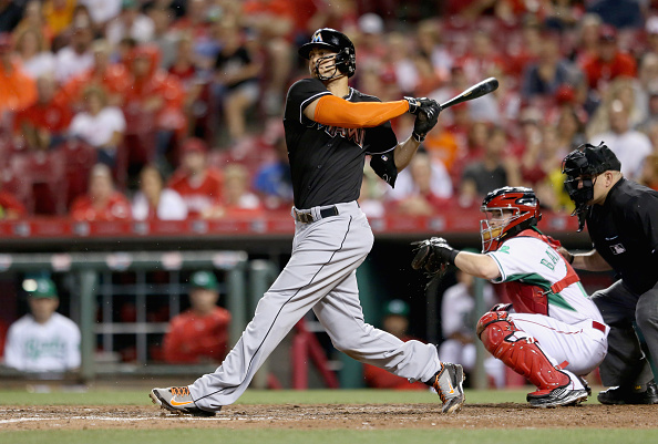 CINCINNATI, OH - JUNE 19: Giancarlo Stanton #27 of the Miami Marlins strikes out in the 8th inning against the Cincinnati Reds at Great American Ball Park on June 19, 2015 in Cincinnati, Ohio.  (Photo by Andy Lyons/Getty Images)