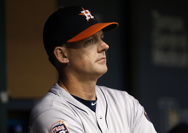 ST. PETERSBURG, FL - JULY 10:  Manager A.J. Hinch #14 of the Houston Astros looks on from the dugout at the start of a game against the Tampa Bay Rays on July 10, 2015 at Tropicana Field in St. Petersburg, Florida.  (Photo by Brian Blanco/Getty Images)
