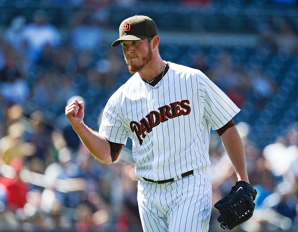 SAN DIEGO, CA - AUGUST 19: Craig Kimbrel #46 of the San Diego Padres pumps his fist after a 3-2 win over the Atlanta Braves in a baseball game at Petco Park August 19, 2015 in San Diego, California. (Photo by Denis Poroy/Getty Images)