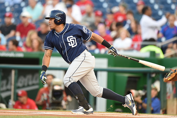 WASHINGTON, DC - AUGUST 26:  Yangervis Solarte #26 of the San Diego Padres leads off the game with a single in the first inning during a baseball game against the Washington Nationals at Nationals Park on August 26, 2015 in Washington, DC.  (Photo by Mitchell Layton/Getty Images)