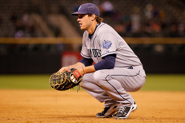 DENVER, CO - SEPTEMBER 18: First baseman Wil Myers #4 of the San Diego Padres looks on during a break in the action against the Colorado Rockies at Coors Field on September 18, 2015 in Denver, Colorado. The Rockies defeated the Padres 7-4. (Photo by Doug Pensinger/Getty Images)