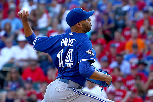 ARLINGTON, TX - OCTOBER 12:  David Price #14 of the Toronto Blue Jays pitches in relief in the sixth inning against the Texas Rangers in game four of the American League Division Series at Globe Life Park in Arlington on October 12, 2015 in Arlington, Texas.  (Photo by Tom Pennington/Getty Images)