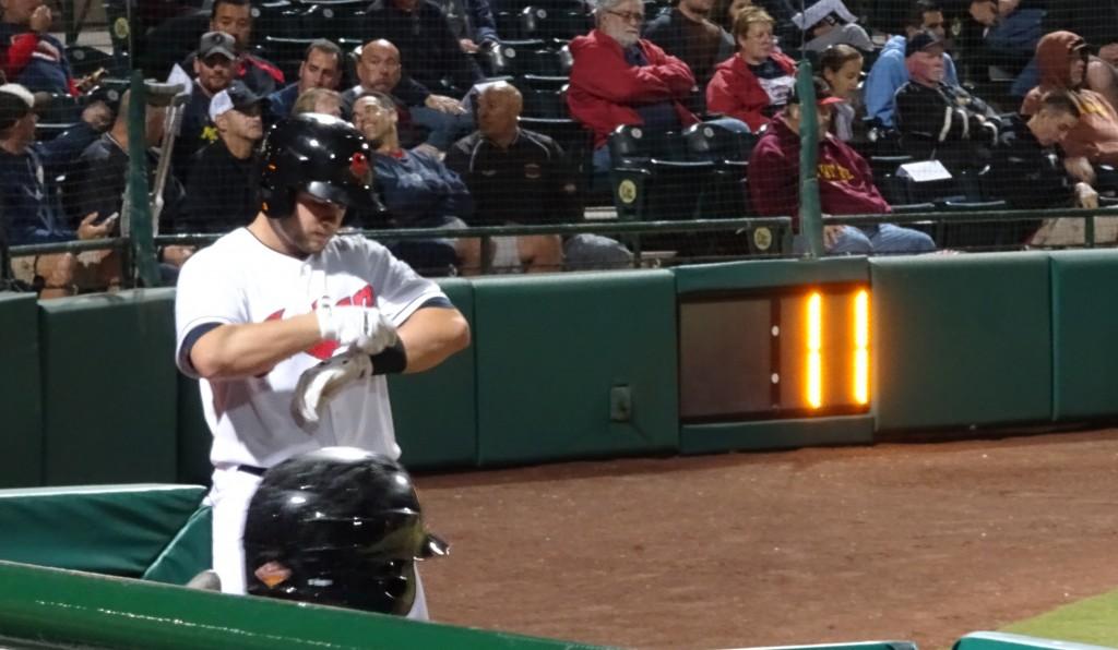 Scottsdale Scorpion, Todd Hankins, waits on deck as the pitch clock ticks away. - Joseph Coblitz