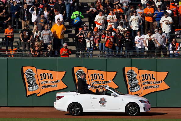 SAN FRANCISCO, CA - APRIL 18:  World Series rings are driven onto the field during the San Francisco Giants 2014 World Series Ring ceremony before the game against the Arizona Diamondbacks at AT&T Park on April 18, 2015 in San Francisco, California.  (Photo by Jason O. Watson/Getty Images) *** Local Caption ***