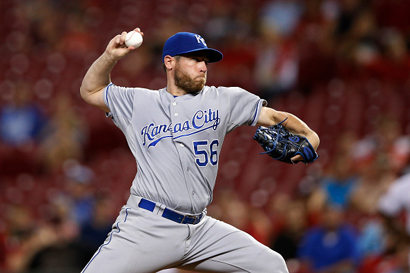 CINCINNATI, OH - AUGUST 18: Greg Holland #56 of the Kansas City Royals pitches in the 13th inning against the Cincinnati Reds at Great American Ball Park on August 18, 2015 in Cincinnati, Ohio. The Royals defeated the Reds 3-1 in 13 innings. (Photo by Joe Robbins/Getty Images)