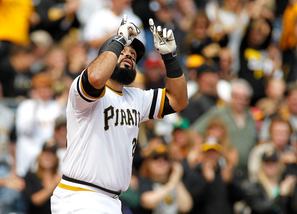 PITTSBURGH, PA - SEPTEM BER 13:  Pedro Alvarez #24 of the Pittsburgh Pirates reacts after hitting a home run in the second inning during the game against the Milwaukee Brewers at PNC Park on September 13, 2015 in Pittsburgh, Pennsylvania.  (Photo by Justin K. Aller/Getty Images)
