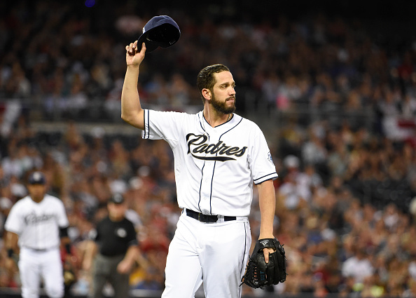 SAN DIEGO, CA - AUGUST 7:  James Shields #33 of the San Diego Padres tips his cap towards the outfield after getting the final out  during the third inning of a baseball game against the Philadelphia Phillies at Petco Park August 7, 2015 in San Diego, California.  (Photo by Denis Poroy/Getty Images)