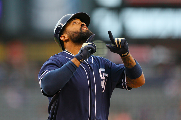 DENVER, CO - AUGUST 14: Matt Kemp #27 of the San Diego Padres points to the sky as he celebrates his first inning two run home run against the Colorado Rockies at Coors Field on August 14, 2015 in Denver, Colorado. (Photo by Justin Edmonds/Getty Images)