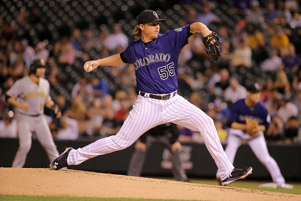 DENVER, CO - SEPTEMBER 21: Starting pitcher Jon Gray #55 of the Colorado Rockies delivers against the Pittsburgh Pirates at Coors Field on September 21, 2015 in Denver, Colorado. The Pirates defeated the Rockies 9-3. (Photo by Doug Pensinger/Getty Images)