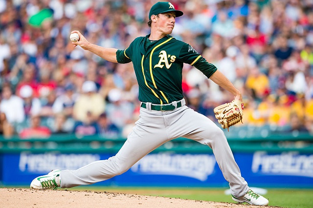 CLEVELAND, OH -  JULY 11: Starting pitcher Chris Bassitt #40 of the Oakland Athletics pitches during the first inning against the Cleveland Indians at Progressive Field on July 11, 2015 in Cleveland, Ohio. (Photo by Jason Miller/Getty Images)  *** Local Caption *** Chris Bassitt