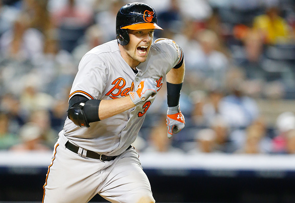 NEW YORK, NY - JULY 21:  Matt Wieters #32 of the Baltimore Orioles reacts as he grounds out to the pitcher to end the eighth inning against the New York Yankees at Yankee Stadium on July 21, 2015 in the Bronx borough of New York City.  (Photo by Jim McIsaac/Getty Images)