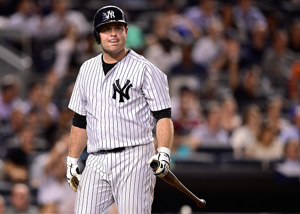 NEW YORK, NY - SEPTEMBER 08: Brian McCann #34 of the New York Yankees reacts against the Baltimore Orioles at Yankee Stadium on September 8, 2015 in New York City. The Baltimore Orioles defeated the New York Yankees 2-1. (Photo by Steven Ryan/Getty Images)