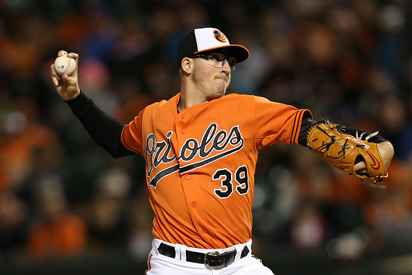 BALTIMORE, MD - SEPTEMBER 30: Starting pitcher Kevin Gausman #39 of the Baltimore Orioles works the fourth inning against the Toronto Blue Jays during game two of a double header at Oriole Park at Camden Yards on September 30, 2015 in Baltimore, Maryland. (Photo by Patrick Smith/Getty Images)