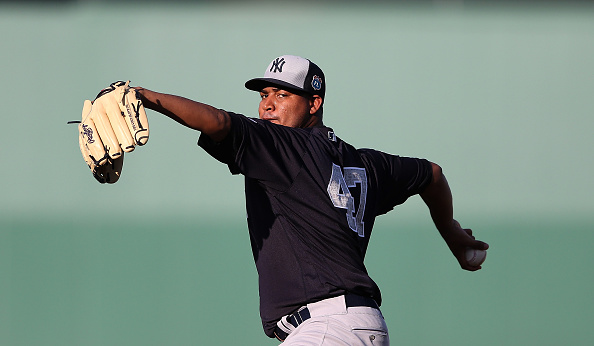 FORT MYERS, FL - MARCH 15: Ivan Nova #47 of the New York Yankees warms up prior to the start of the Spring Training Game against the Boston Red Sox on March 15, 2016 at Jet Blue Park at Fenway South, Fort Myers, Florida. (Photo by Leon Halip/Getty Images)