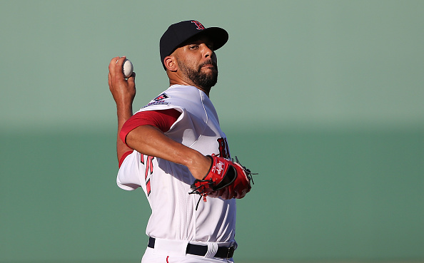 FORT MYERS, FL - MARCH 15: David Price #24 of the Boston Red Sox warms up prior to the start of the Spring Training Game against the New York Yankees on March 15, 2016 at Jet Blue Park at Fenway South, Fort Myers, Florida. (Photo by Leon Halip/Getty Images)