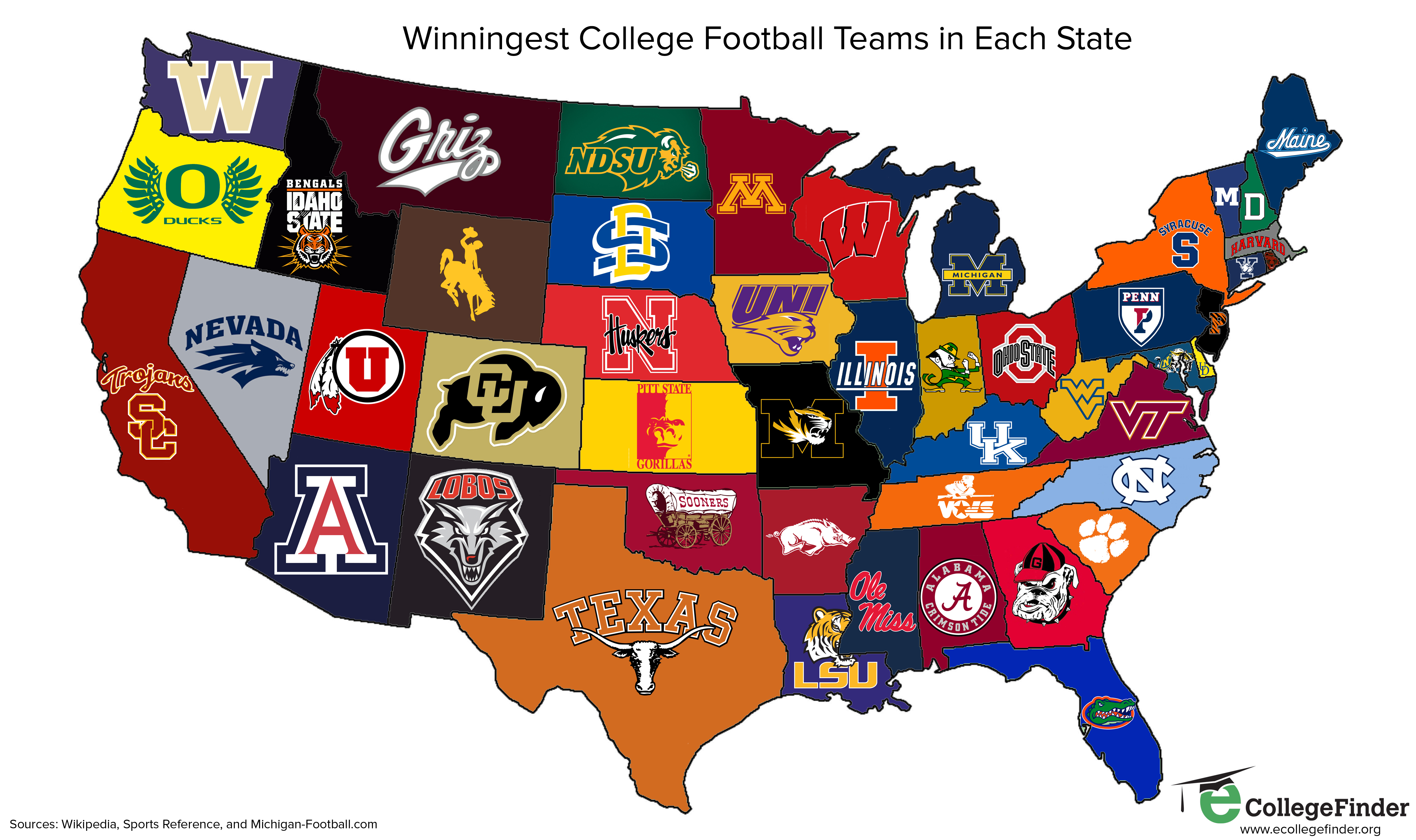 Winningest college football teams in each state - The ...