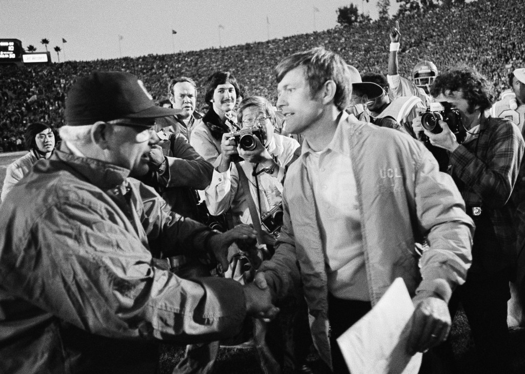 Woody Hayes coached his last Rose Bowl in 1976 against a very young and ascendant Dick Vermeil, who soon left UCLA to bring the Philadelphia Eagles their first Super Bowl appearance a few years later.