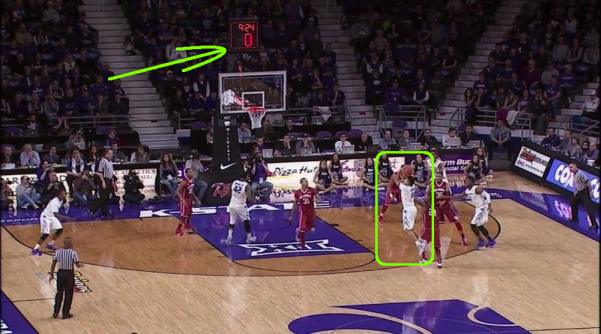 The Kansas State basket that should not have counted on Saturday against Oklahoma. Image courtesy of Rob Dauster and College Basketball Talk at NBCSports.com.