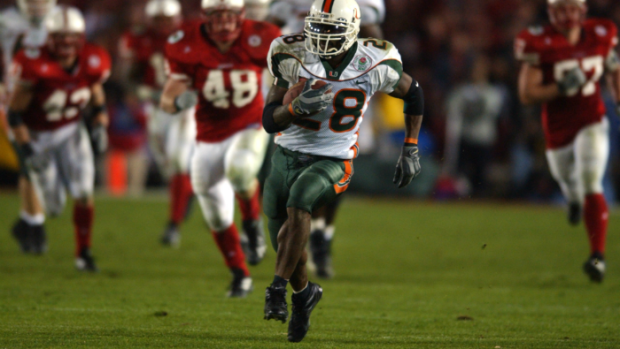 Clinton Portis ran away from Nebraska's defense in the 2002 Rose Bowl... and prosperity eluded both the Hurricanes and the Huskers a few short years later.