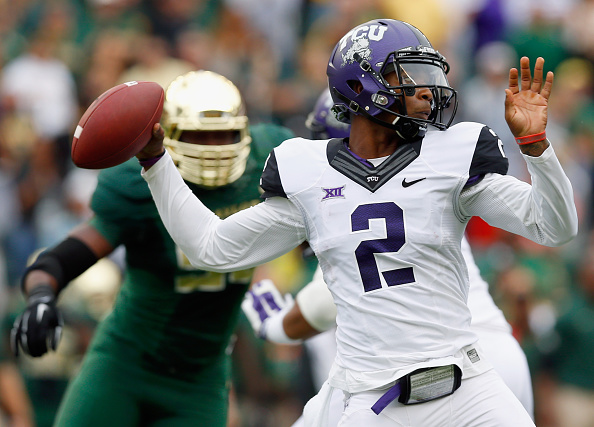 WACO, TX - OCTOBER 11:  Trevone Boykin #2 of the TCU Horned Frogs looks for an open receiver in the first half against the Baylor Bears at McLane Stadium on October 11, 2014 in Waco, Texas.  (Photo by Tom Pennington/Getty Images)