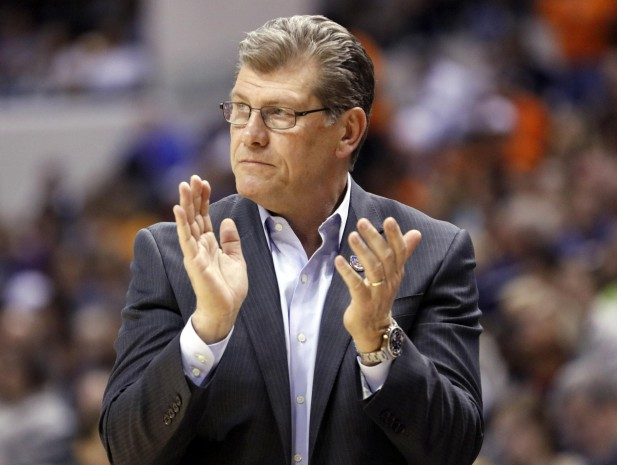 Connecticut head coach Geno Auriemma cheers for his team during the second half of a national semifinal game against Oregon State, at the women's Final Four in the NCAA college basketball tournament Sunday, April 3, 2016, in Indianapolis. Connecticut won 80-51. (AP Photo/AJ Mast) ORG XMIT: NAF155