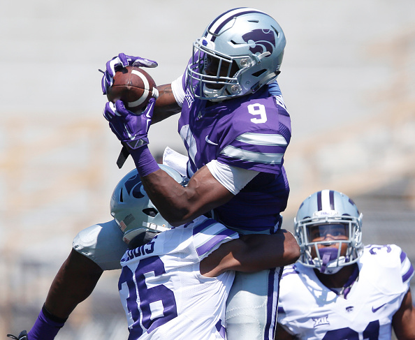 Kansas State wide receiver Byron Pringle (9) leaps for a pass during the Wildcats' annual spring scrimmage on Saturday, April 23, 2016, in Manhattan, Kan. (Bo Rader/Wichita Eagle/TNS via Getty Images)